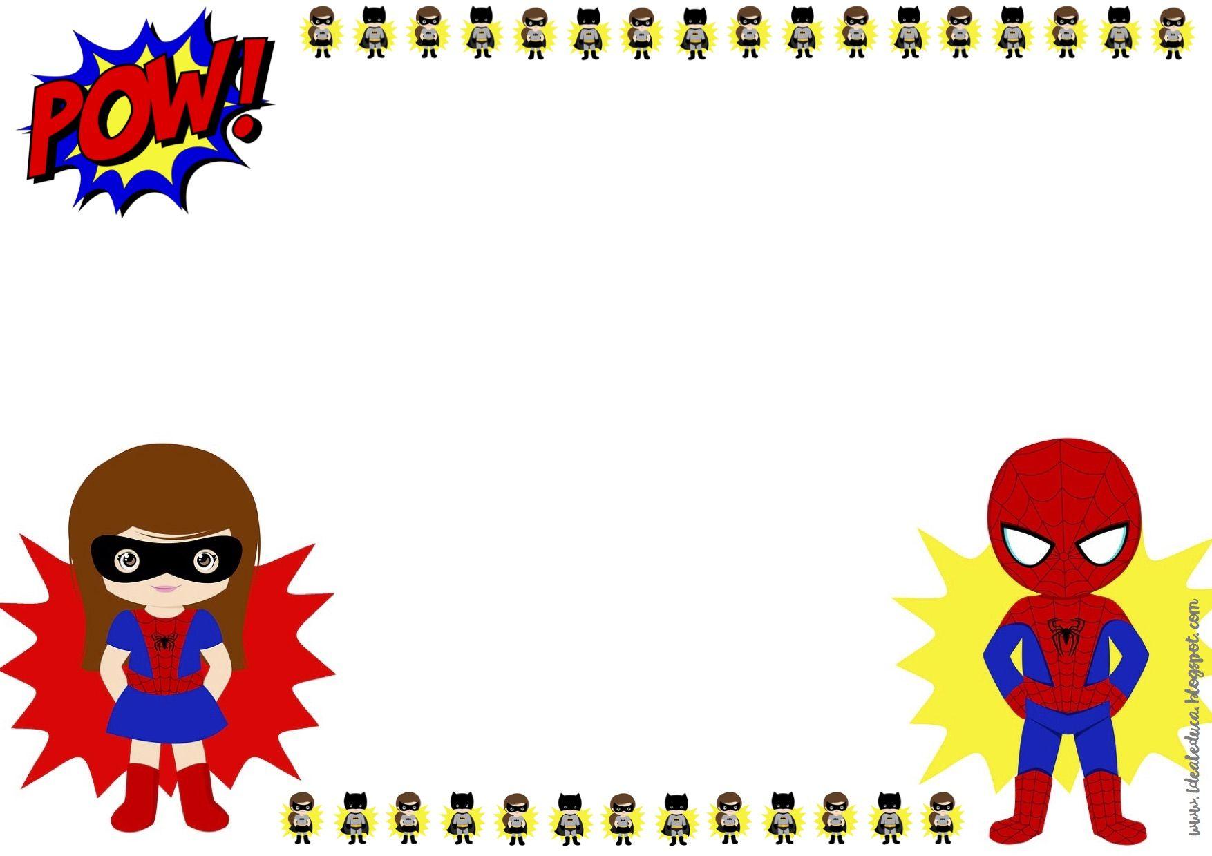 Marcos editables superhéroes y heroínas. Motivación clase, diploma ...