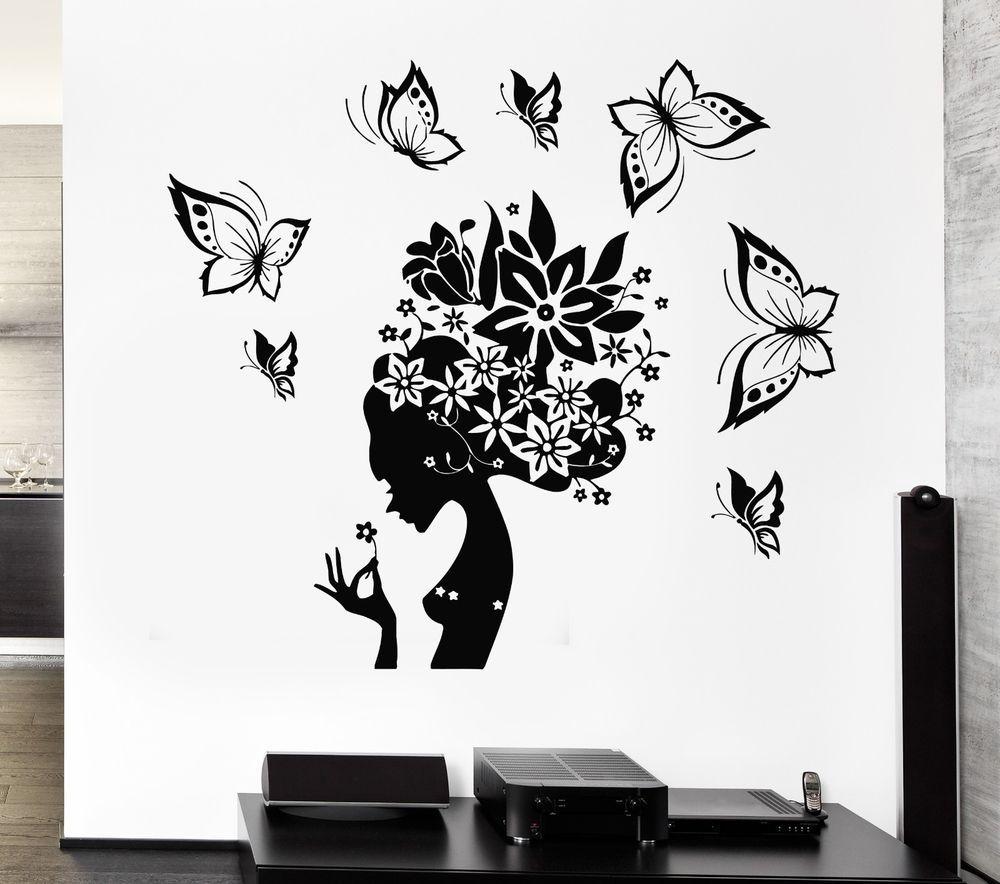 wall decal pretty butterfly beauty salon woman abstract hair wall decal pretty butterfly beauty salon woman abstract hair stickers ig2537