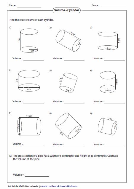 Volume Worksheets Volume Worksheets Volume Math Volume Of A Cylinder