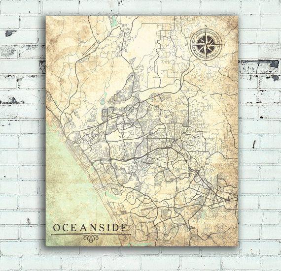 OCEANSIDE CA Canvas Print California Vintage map Oceanside Ca City