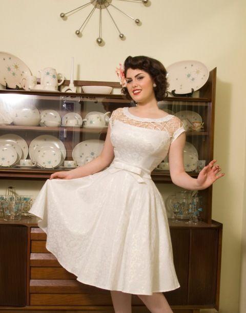 Tatyana Bettie Page 50 S Shell Alika Off White Swing Dress Xs 4x Wedding Nwt