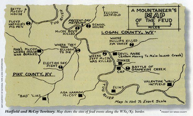 A Mountaineer S Map Of The Hatfield Mccoy Feud Hatfields And Mccoys Hatfield Hatfield And Mccoy Feud