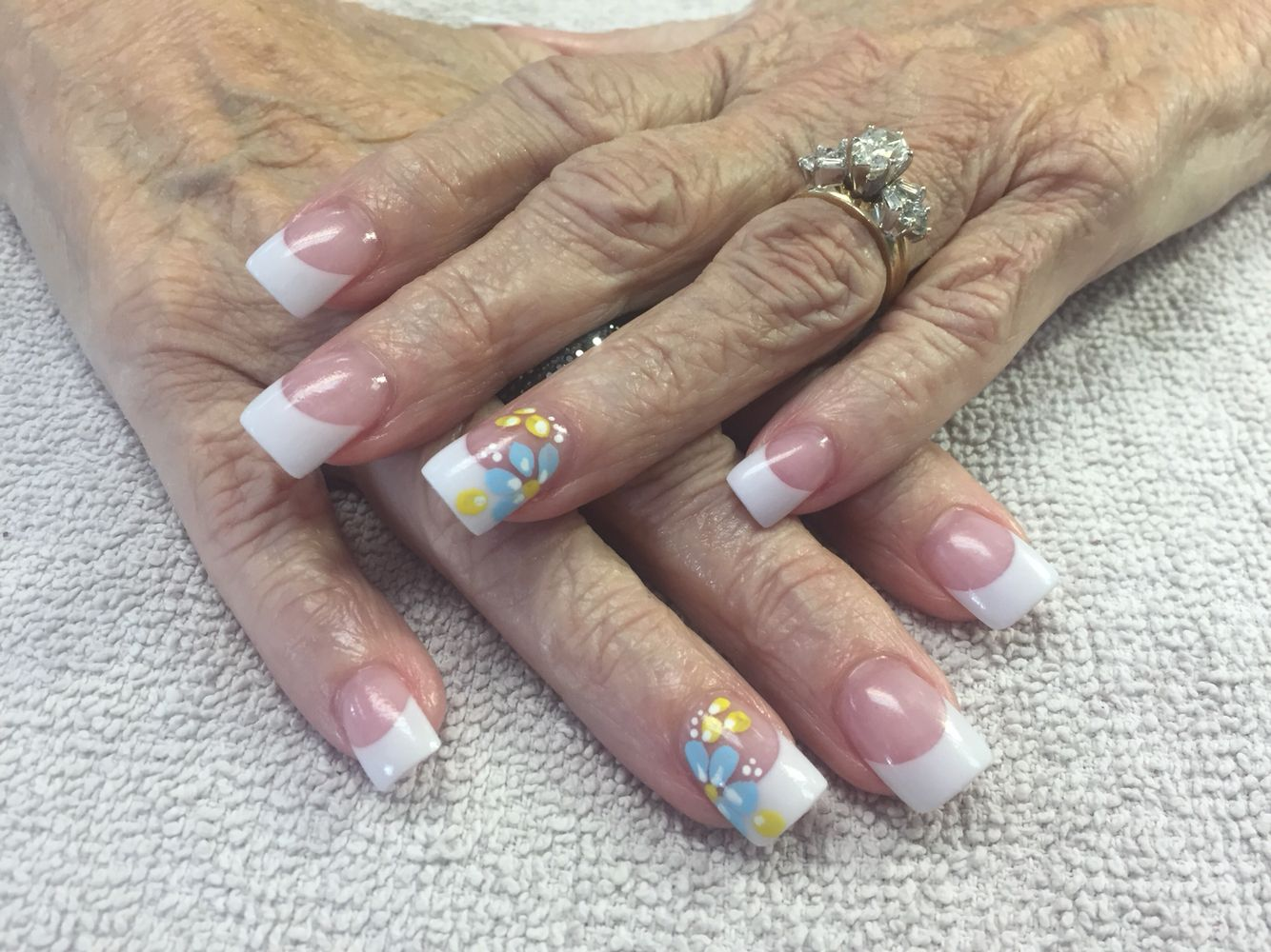 Forever french acrylic nails with hand painted design by Shannon ...