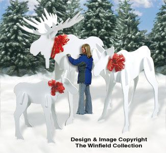 wooden christmas yard decorations patterns moose cow and calf from this money saving full size pattern set - Moose Christmas Yard Decorations