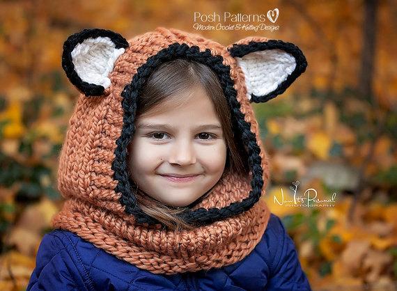 Knitting Pattern Fox Hooded Cowl Hooded Cowl Hooded Fox Cowl