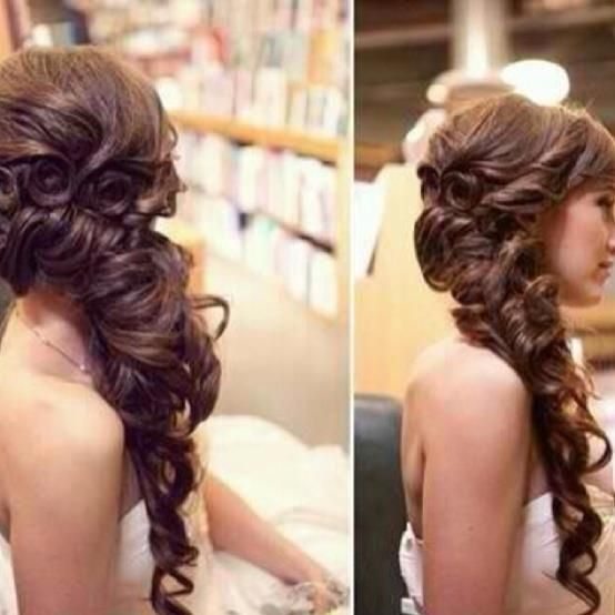 fancy side curly hairstyle | Glamorous hair, Hair styles ...