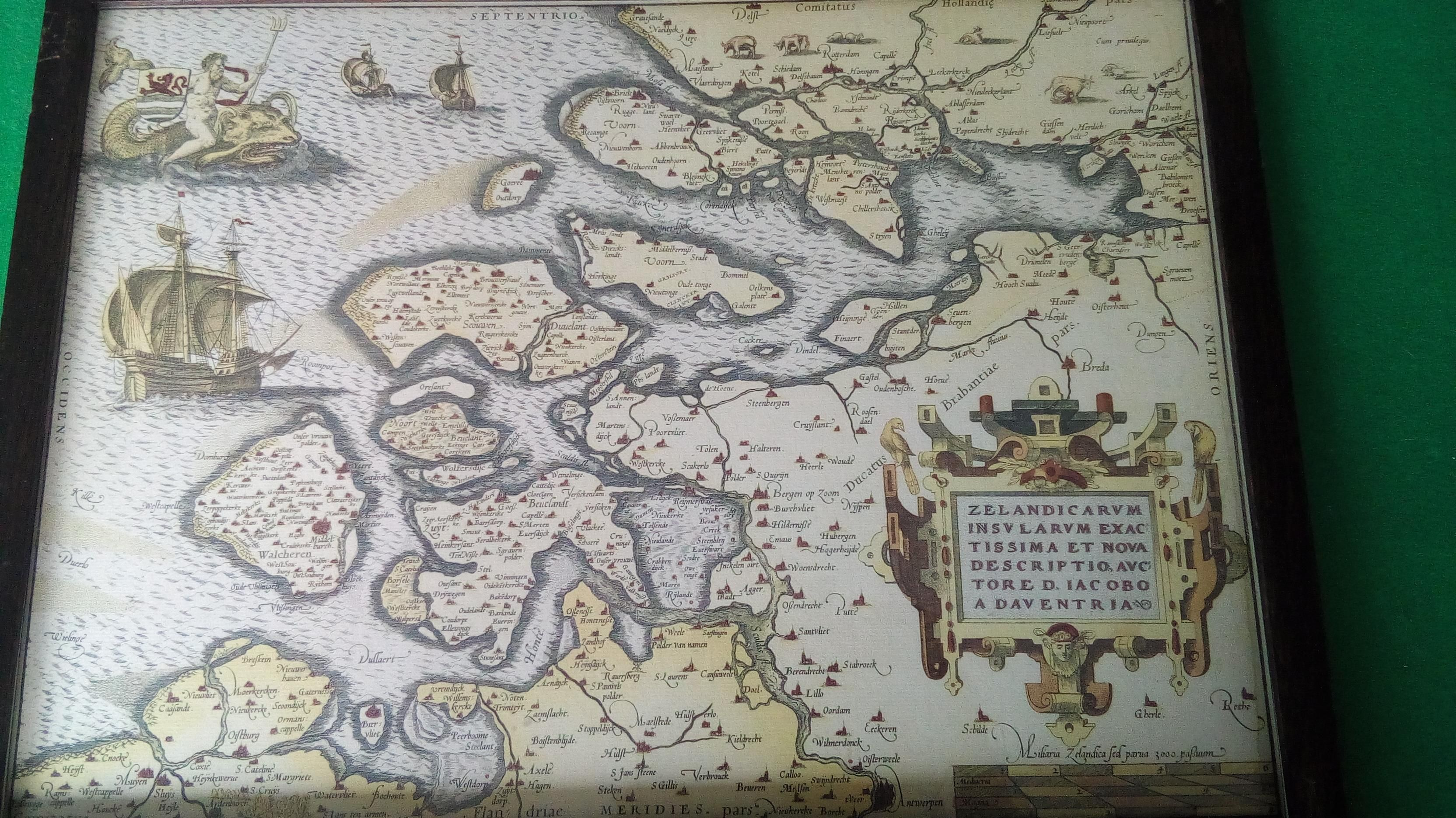 Map of Zeeland the Netherlands in 1580 highres version in