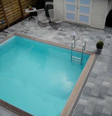 Piscine hors sol bois Quartoo M1 3,50 x 3,50 m u2013 H 1,33 m - amenagement autour piscine hors sol