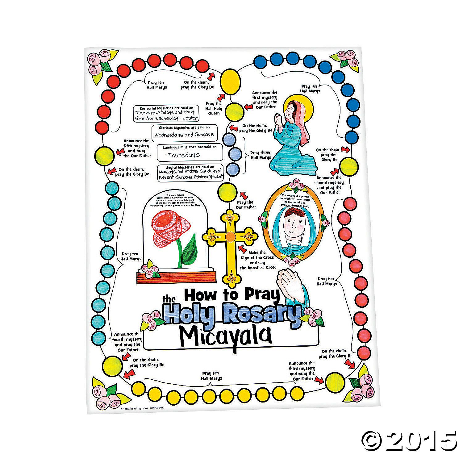 Color Your Own All About The Rosary Posters Rosary Poster Praying The Rosary School Crafts