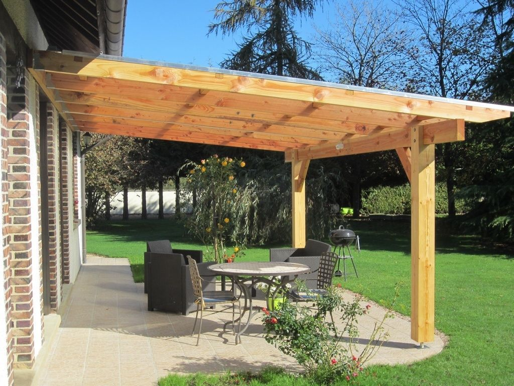 pergola murale bois 6 06 x 4 00 m couverture polycarbonate. Black Bedroom Furniture Sets. Home Design Ideas