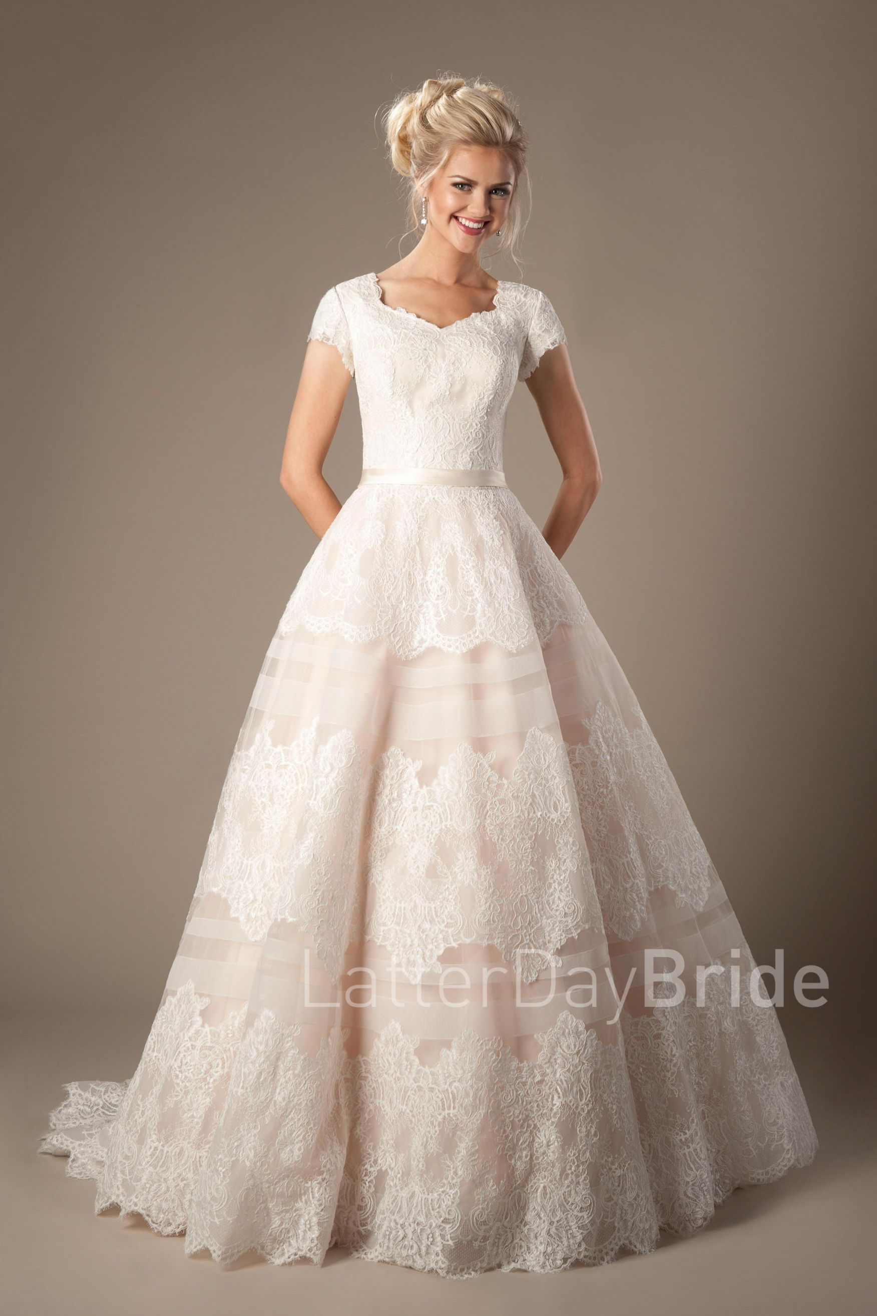 Rosetta | Modest Lace Wedding Dress with Sleeves | LatterDayBride ...
