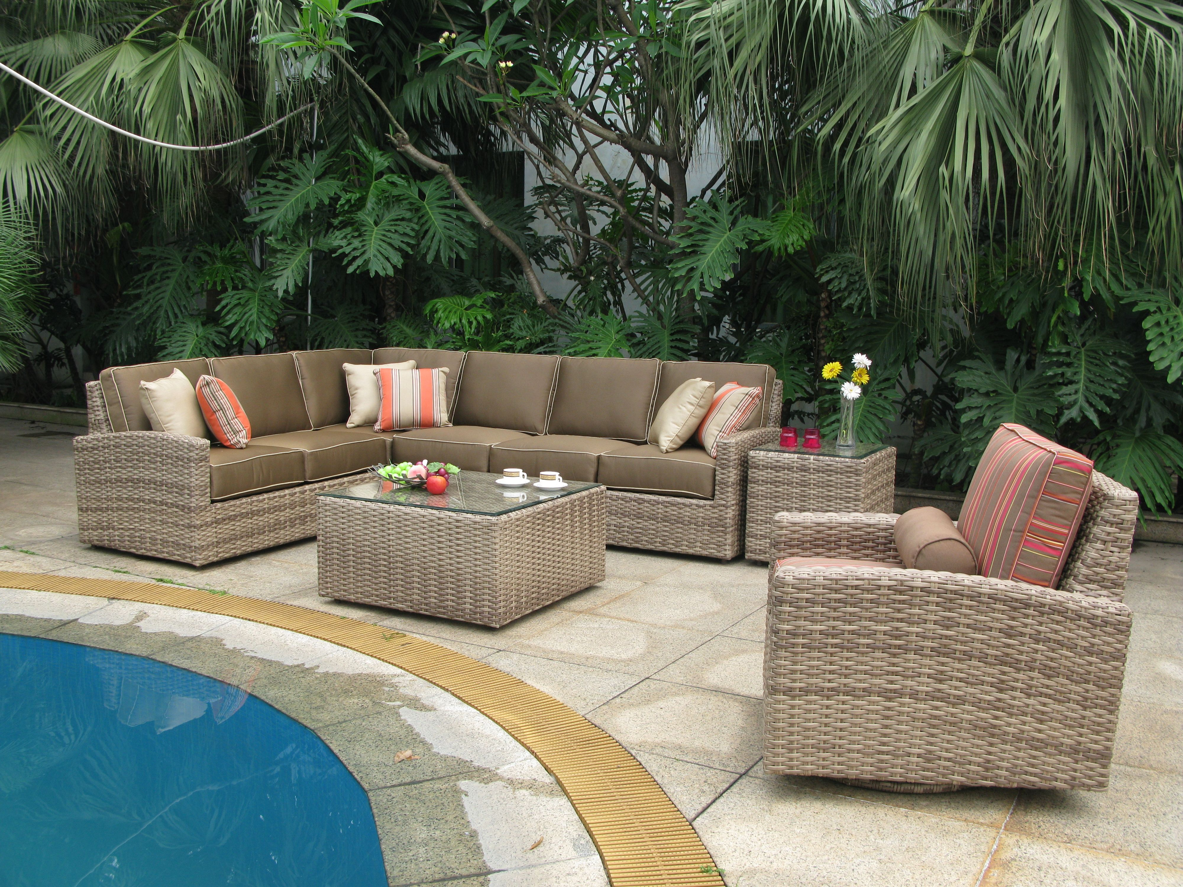 biscayne wicker sectional group shot wicker patio furniture