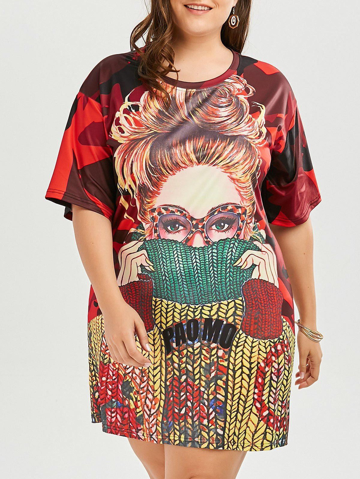 Plus Size Funny Printed T-shirt Dress in Floral | Sammydress ...