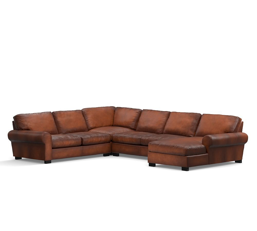 Turner Roll Arm Leather Left Arm 4 Piece Chaise Sectional Down Blend Wrapped Cushions Burnished Wolf Gray At Pottery Barn In 2020 Leather Sectional Sofas Modern Outdoor Furniture Leather Sectional