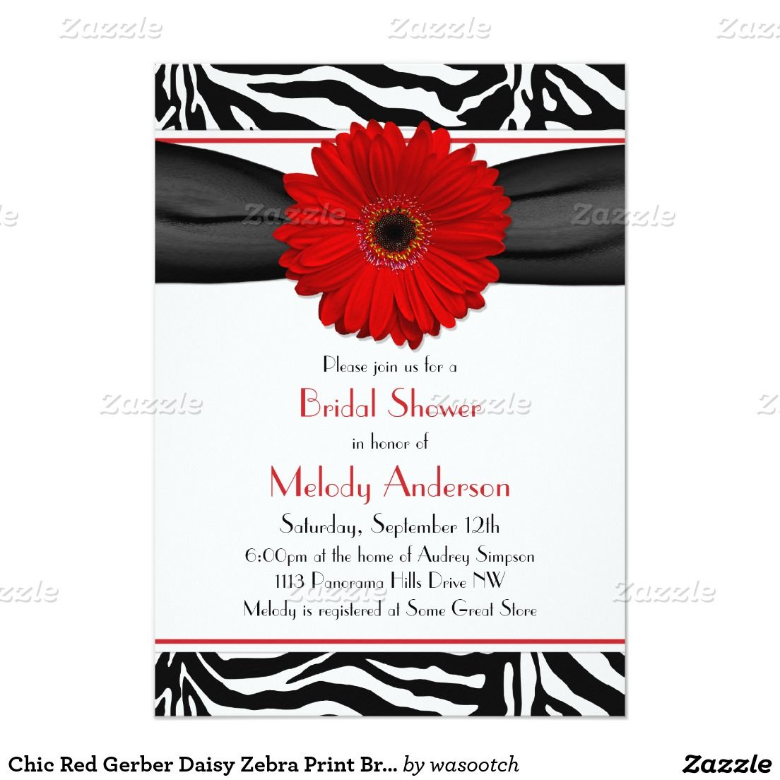 Chic Red Gerber Daisy Zebra Print Bridal Shower Invitation | wedding ...