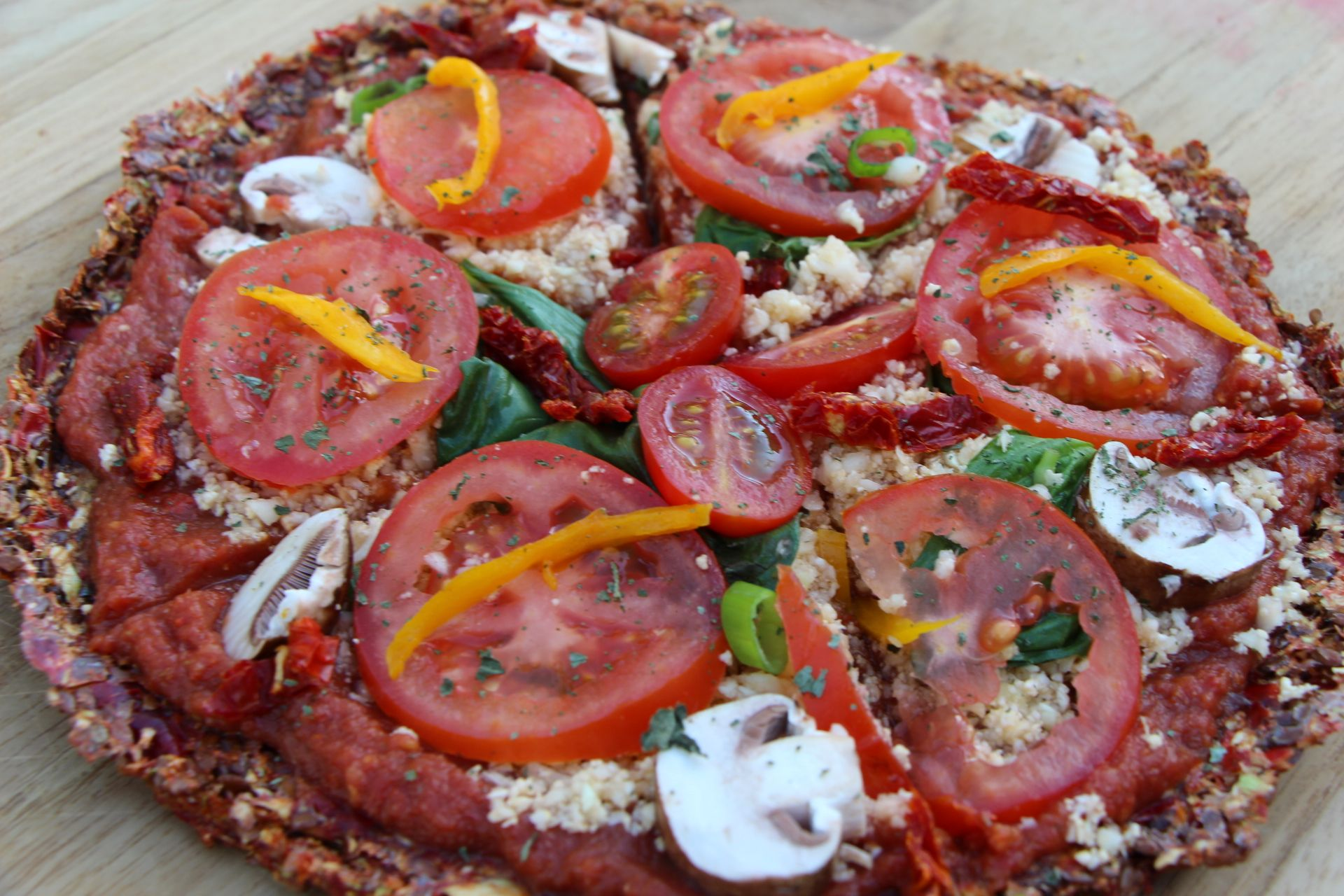 Raw Vegan Pizza When you're craving a savory, crunchy dish I recommend the Raw Vegan Pizza for an excellent meal! I love this recipe.