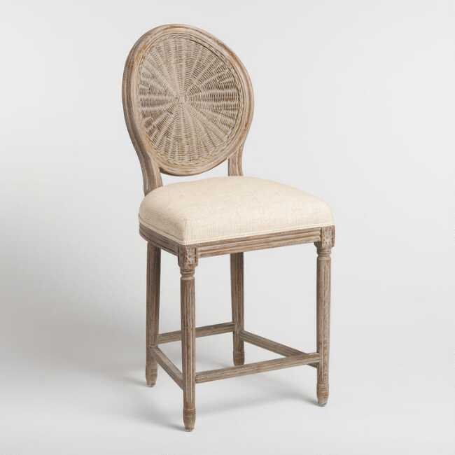 Natural Cane Round Back Paige Upholstered Counter Stool Counter Stools Upholstered Stool Bar Stools