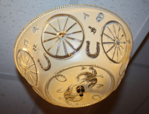 Vintage 1950s Western Cowboy Ceiling Light Lamp Fixture 10 Quot Frosted Glass Shade Ebay Western