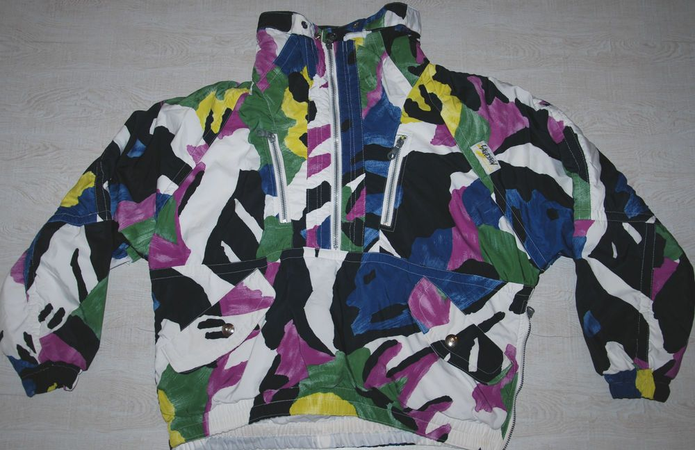 VINTAGE L AGRESSION SKI JACKET ANORAK SMOCK TRACKSUIT TOP NYLON MULTICOLORED M