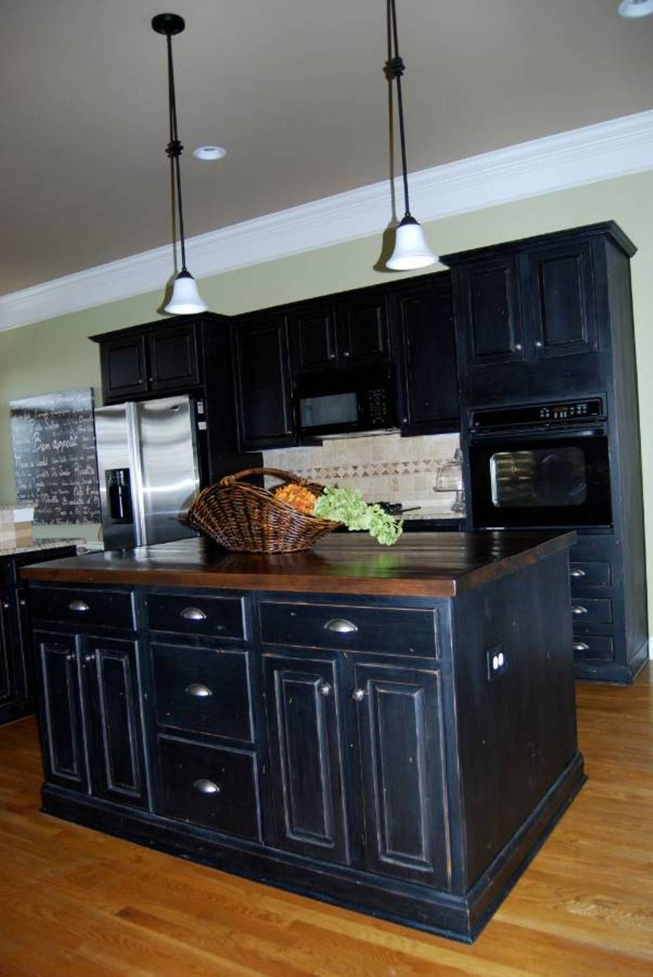 Distressed Black Kitchen Cabinets Centerpiece For Table Furniture Suave With Silver Refrigerator And Island Butcherblock Countertop