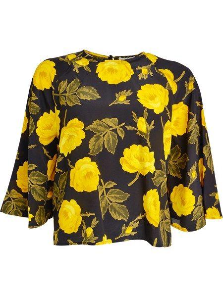 Lee flower printed silk blouse