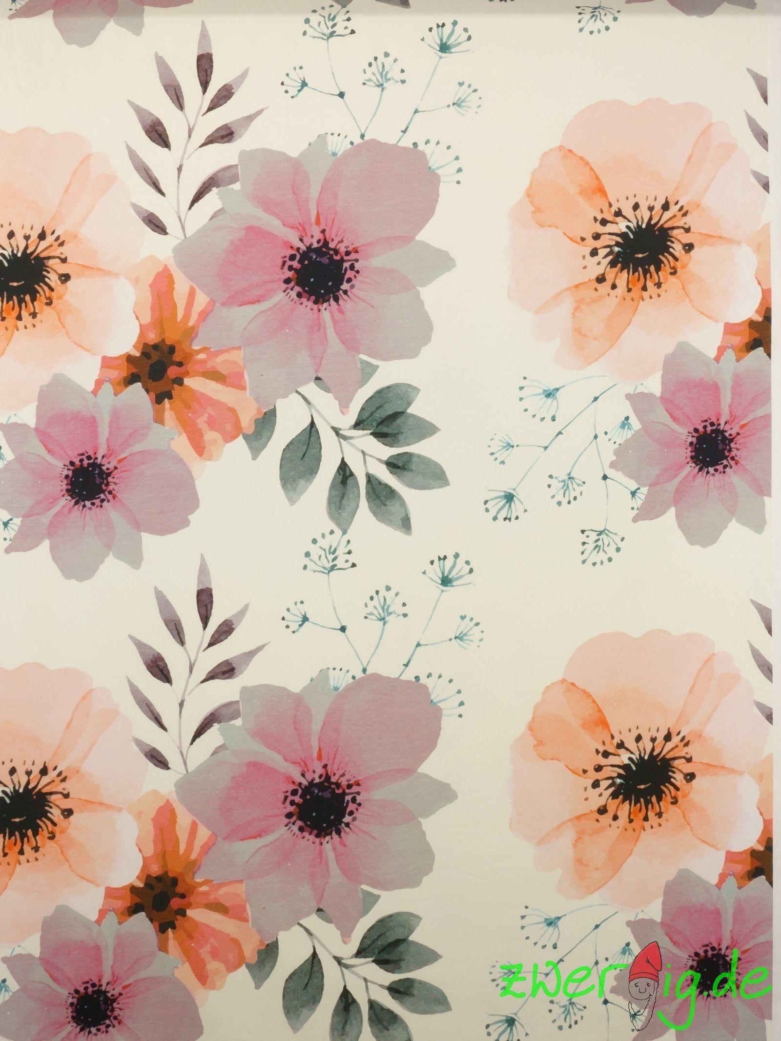Jersey Stoff Grosse Mohnblute Mohnblume Auf Hellnatur Pastell Von Zwergigde Auf Etsy Printed Shower Curtain Prints Shower Curtain