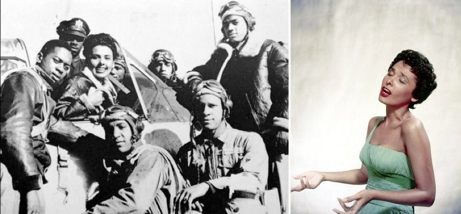 Lena Horne, with a group of Tuskegee Airmen on January 1, 1945, left. There are countless photos of Ms. Horne visiting Tuskegee Airmen and other military personnel to show her support for their service. She also showed her support for them by refusing to perform for segregated military audiences during World War II
