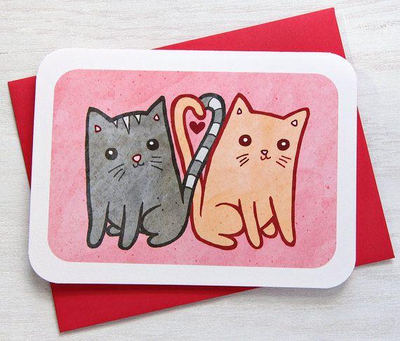 Kitties In Love Anniversary Card Valentine Card Friend Cat Etsy Friend Valentine Card Valentines Cards Kawaii Valentine