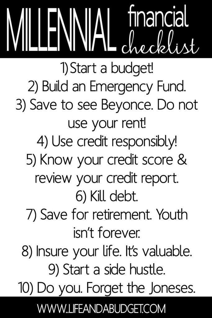 Financial Checklist For Millennials  Personal Finance