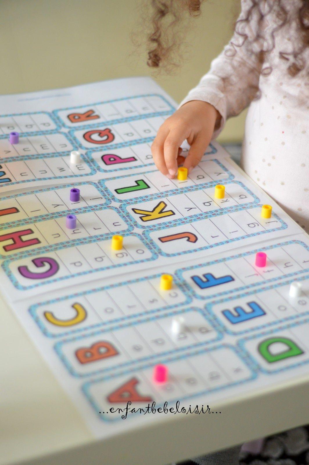 Cartes imprimer correspondance capitales scriptes cole maternelle lettre a et alphabet - Grande lettre alphabet a imprimer ...