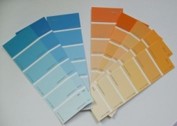 use tones of colour chip to paint MDF & then write ...