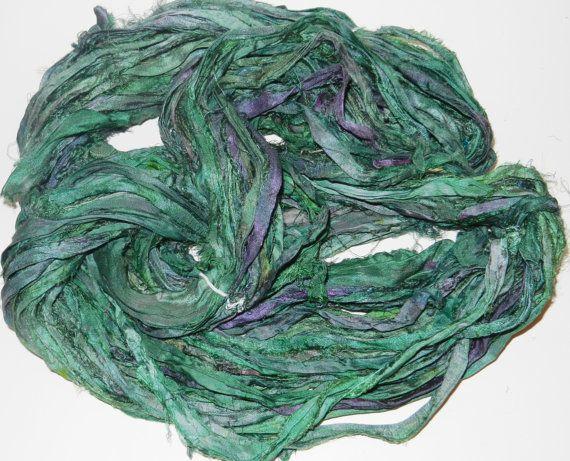 10 yards Recycled Sari Silk Ribbon Yarn green tie dye