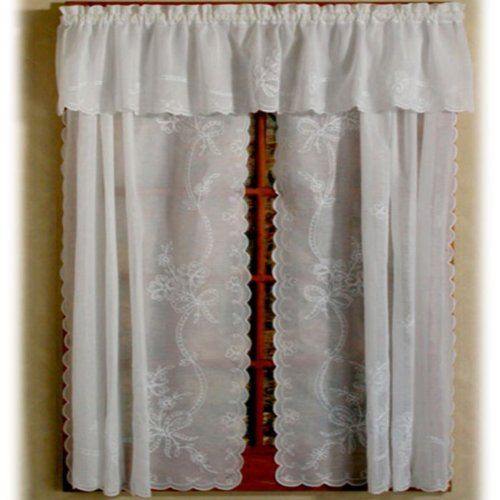 Swiss Tambour Sheer Embroidered Curtain 80 X 36 White By D