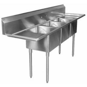 Regency 58 16 Gauge Stainless Steel Three Compartment Commercial Sink With 2 Drainboards 10 X 14 X 10 Bowls Commercial Sink Kitchen Fixtures Three Compartment Sink