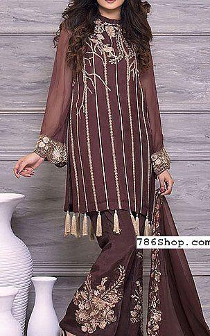 38f6ca37b4 Chocolate Crinkle Chiffon Suit | Buy Motifz Pakistani Dresses and Clothing  online in USA, UK