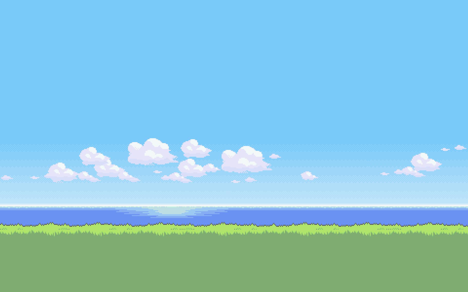Permalink to Pixel Art Beach Wallpaper