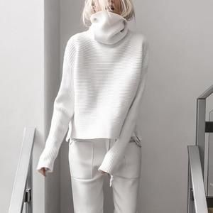 Photo of Brief High Collar Long Sleeve Pure Colour Loose Sweater