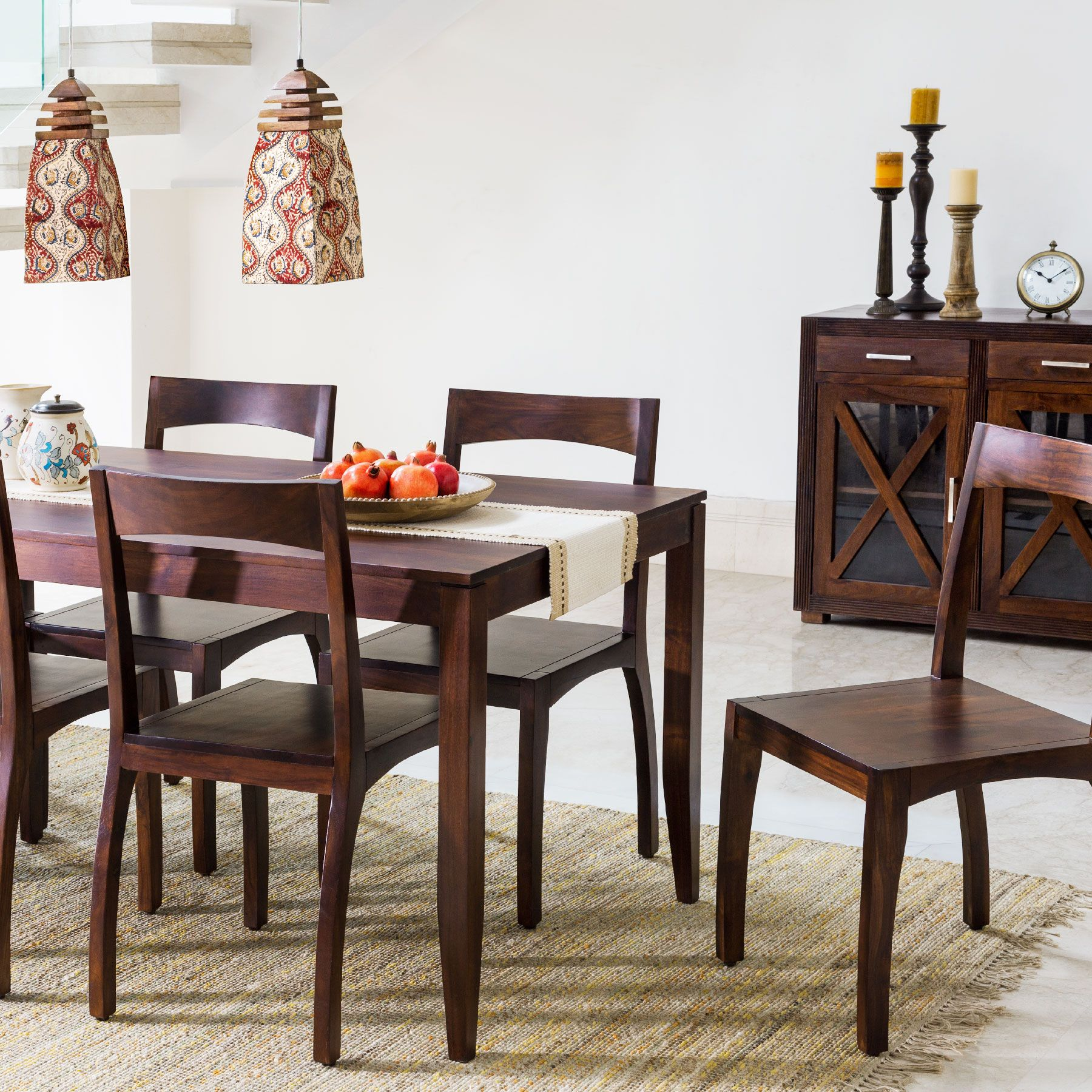 dining solid wood furniture table chairs dhurries hanging