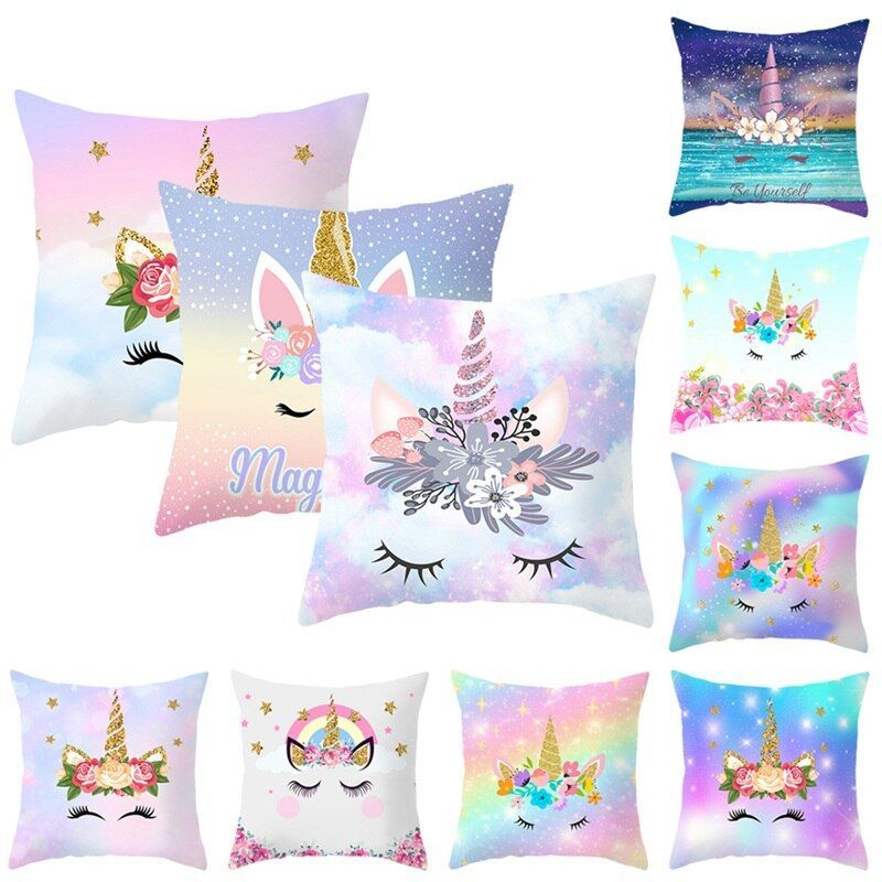 Hologram Galaxy Unicorn Pillow Cover  Hologram Galaxy Unicorn Pillow Cover