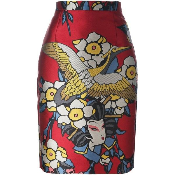 Dsquared2 geisha print skirt ($1,240) ❤ liked on Polyvore featuring skirts, red, red high waisted skirt, mid length skirts, high-waist skirt, print skirt and patterned skirts