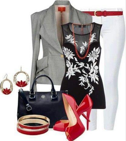Negro, gris, de traje rojo - Negro Blusa Imprimir.  Blazer.  Blanco Jeans pitillo.  Tacones altos rojos.