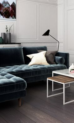 A sophisticated home featuring the Luca Sectional in Vintage Velvet Solstice
