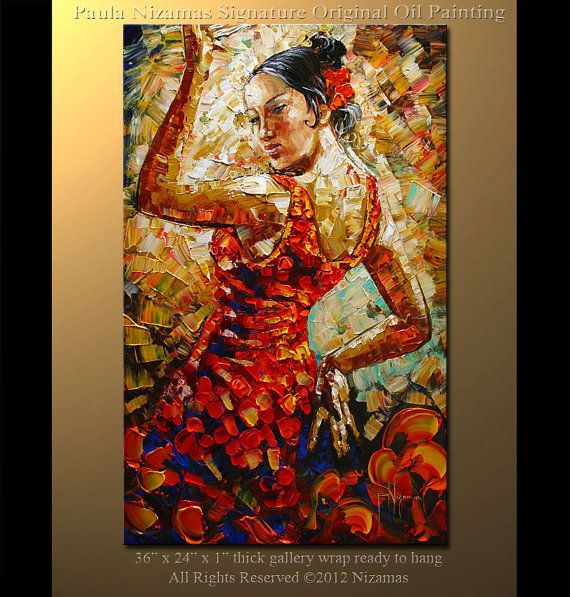 Art On Canvas Park Giclee Print Gift Modern Home Decor By Nizamas Ready To Hang Dancer Painting Art Painting
