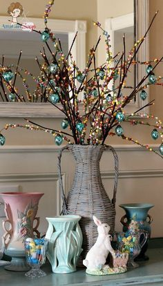 Pottery Barn Wicker Demijohn Basket Makeover Easter Tree