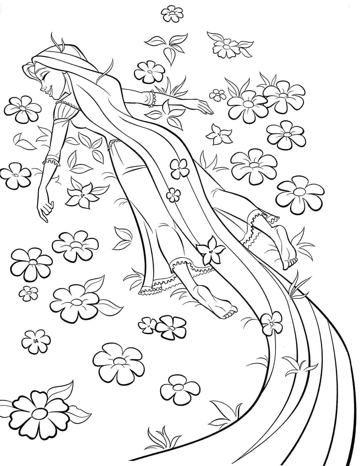 Rapunzel Spends His Days In The Garden Coloring Pages
