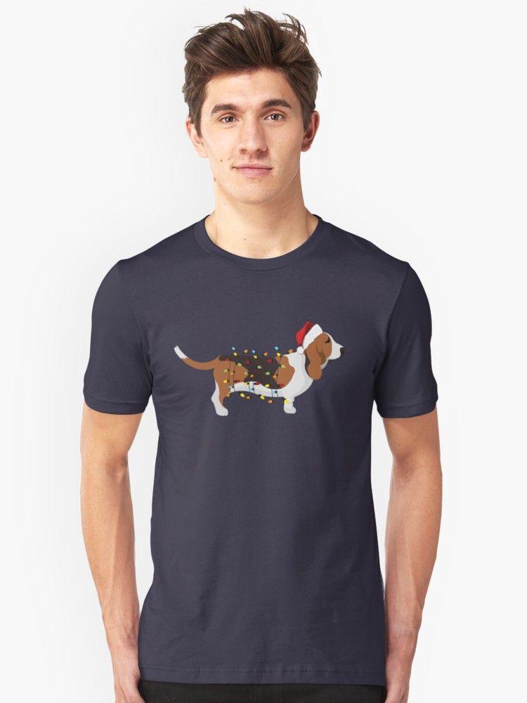 Basset Hound Holiday Christmas Lights Unisex T Shirt Dog