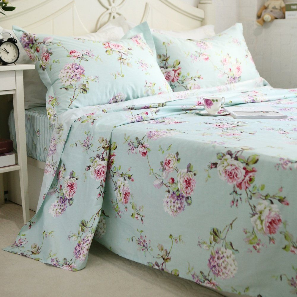 FADFAY 4Piece Blue Floral Print Bed Sheet Set Cotton Bed