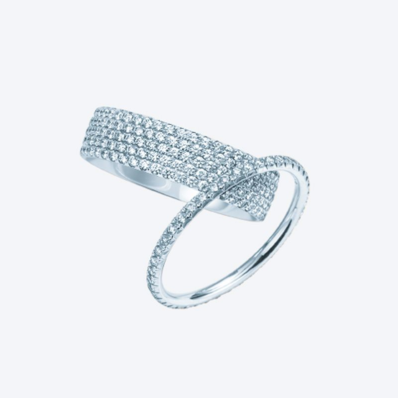 Two of a kind Tiffany Metro band rings in 18k white gold with