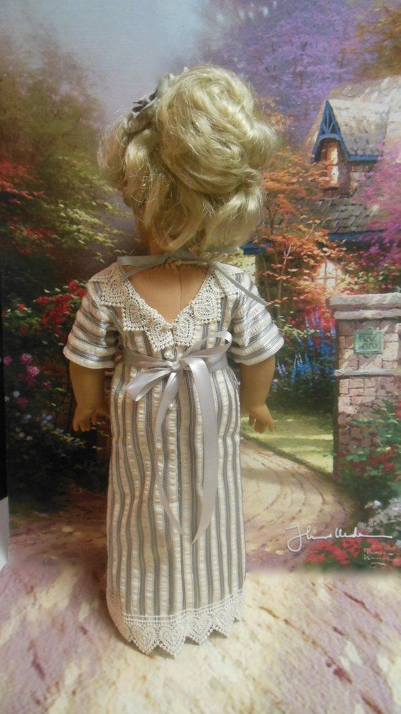 Historical American girl doll clothes Tea Time (18 inch doll) 1900's tea gown turn of the century Edwardian Downton Abbey #historicaldollclothes