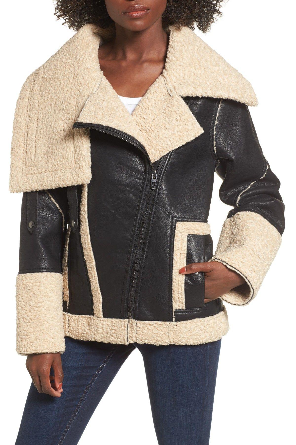 BLANKNYC Denim Faux Shearling & Faux Leather Jacket